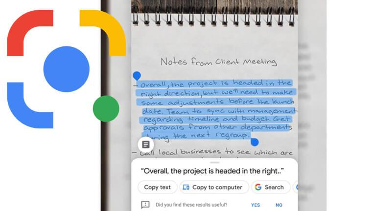 copier-coller notes google lens