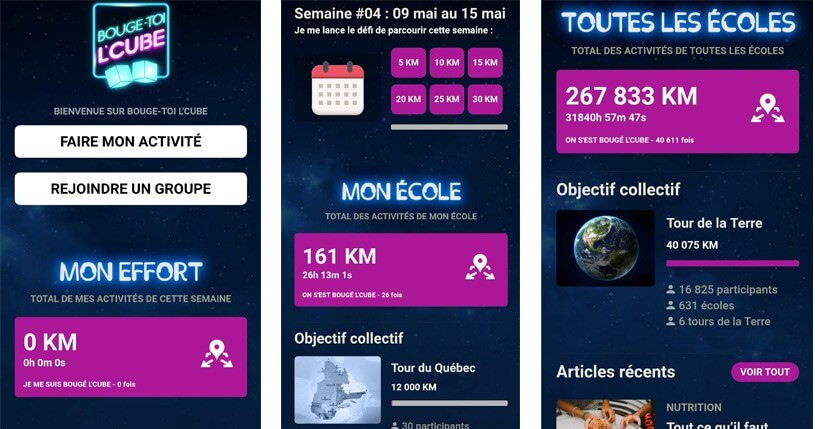interface application Bouge toi l'Cube
