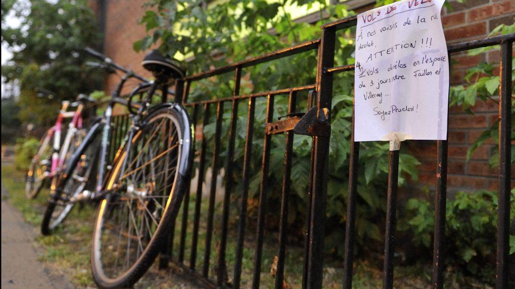 Un écriteau pour se protéger des vols de vélos.