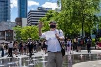 manifestation pour une aide accrue au milieu culturel au centre-ville de Montréal, pendant la pandémie de coronavirus
