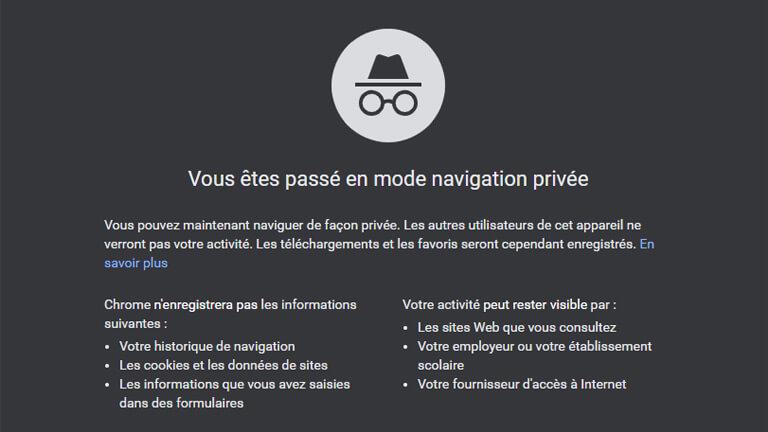 activité visible google chrome mode incognito