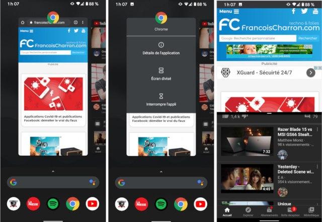 Android téléphone tablette 2 applications en même temps