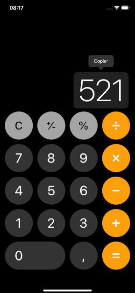 Calculatrice iPhone copier résultat