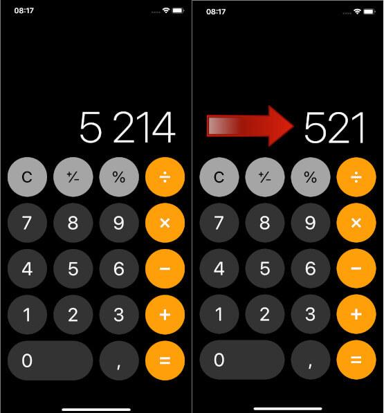 Calculatrice iPhone supprimer chiffre