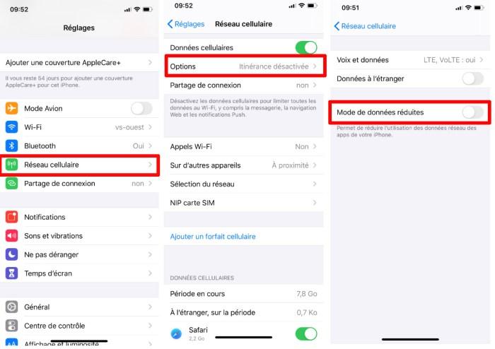 Comment activer le mode de données réduites sur iPhone avec iOS 13