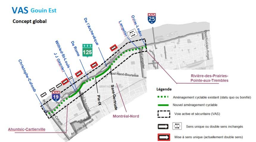 Montréal-Nord: des sens uniques et une voie cyclable bonifiée sur Gouin