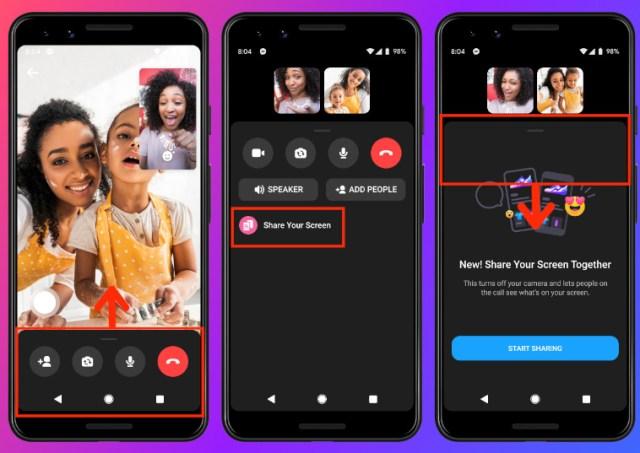 Comment partager écran téléphone appel vidéo Messenger