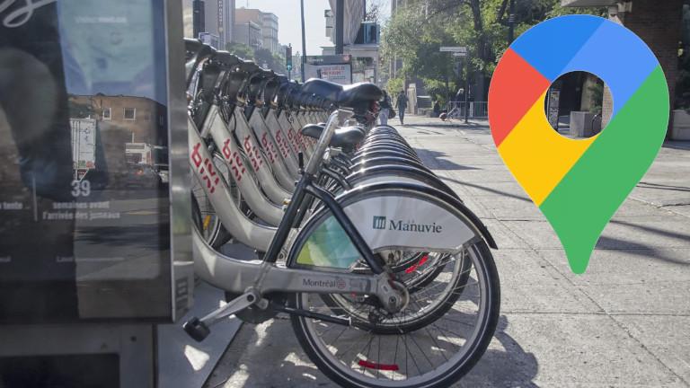 Google Maps trajet vélo libre-service BIXI Montréal