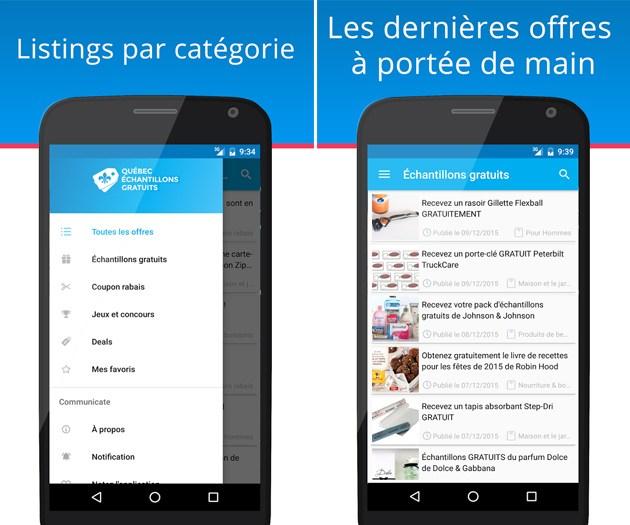 Application Échantillons Rabais Québec