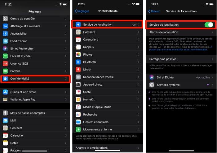 iPhone désactiver localisation applications