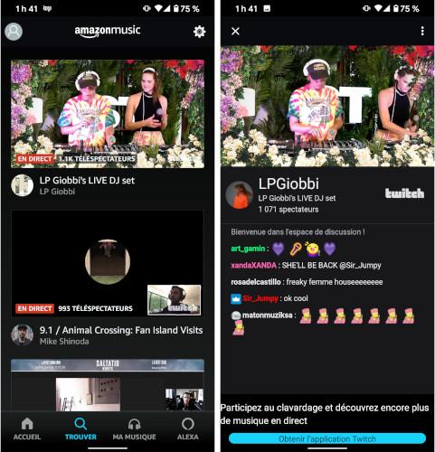 Amazon Music prestation artistes live Twitch