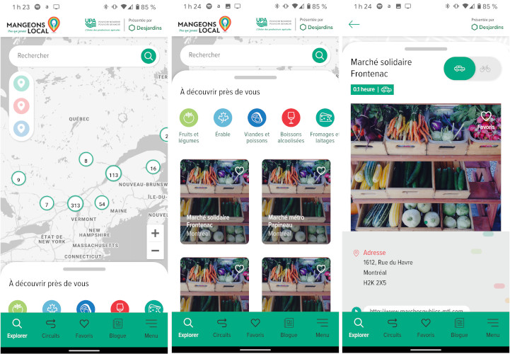 Application mobile Mangeons Local téléphone Android iPhone iOS