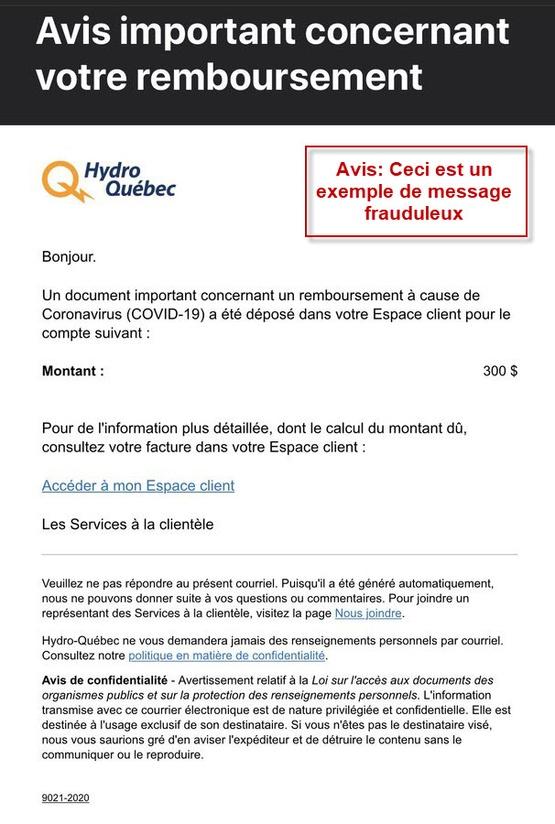 Courriel remboursement 300$ Hydro-Québec Covid-19