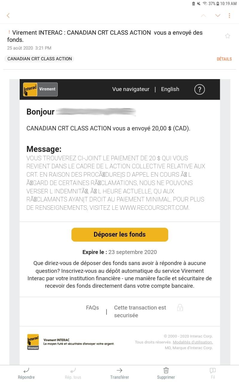 CRT Class Action courriel transfert 20$