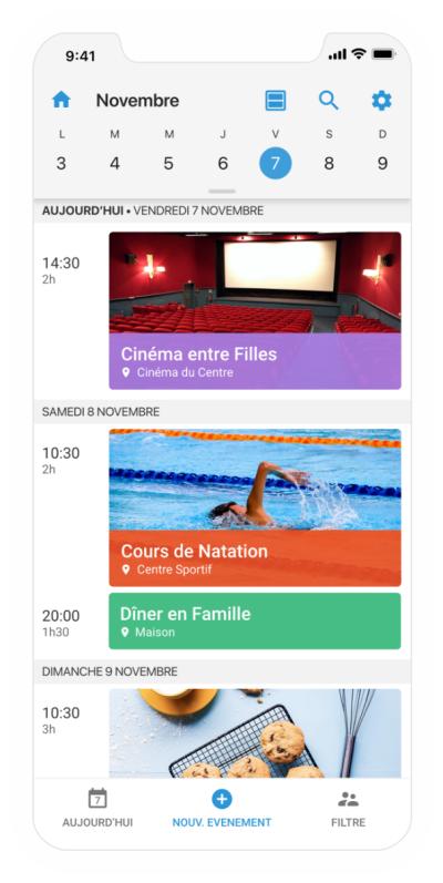 Capture d'écran de l'application mobile FamilyWall
