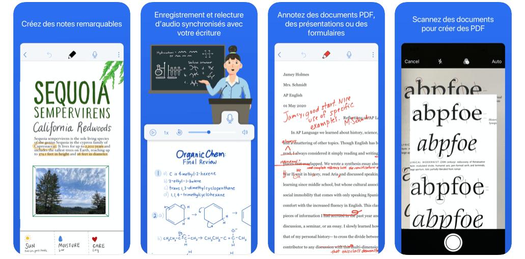 Capture d'écran de l'application mobile notability
