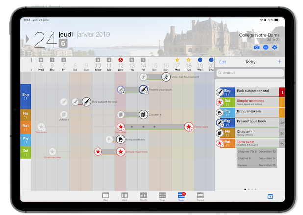 Capture d'écran de l'app mobile studyo