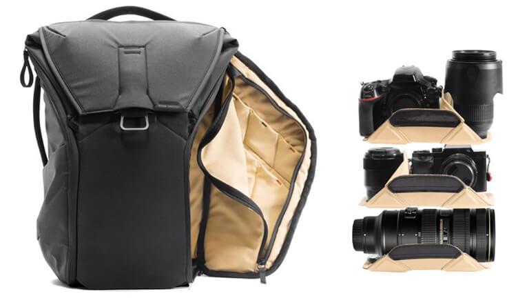 Everyday Backpack rangement caméras lentilles