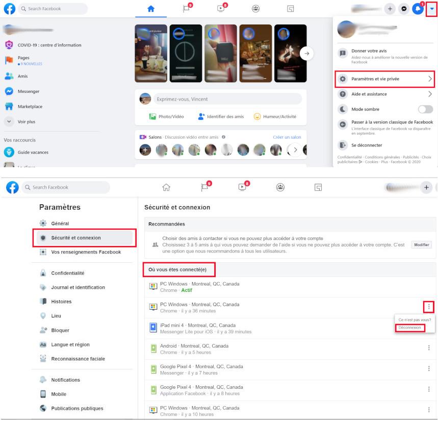 Facebook voir connexions appareils compte