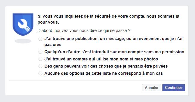 Facebook page portail signalement compte piraté