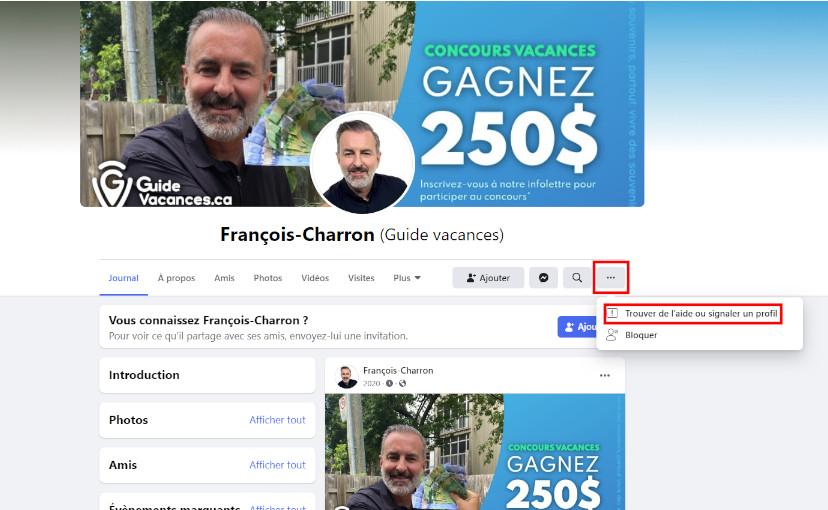 Faux compte Facebook François Charron