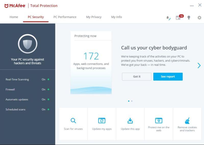 McAffe antivirus 2019 interface