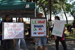Un rassemblement contre le démantèlement du camp de fortune