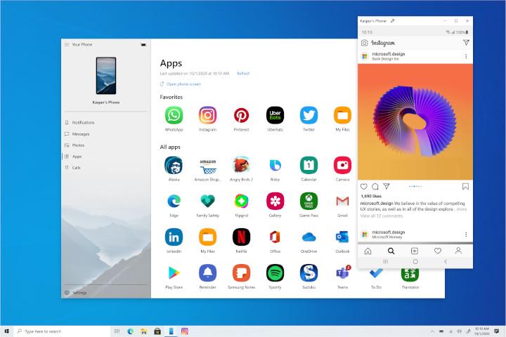 Application Votre Téléphone appareil Samsung applications Windows 10 ordinateur