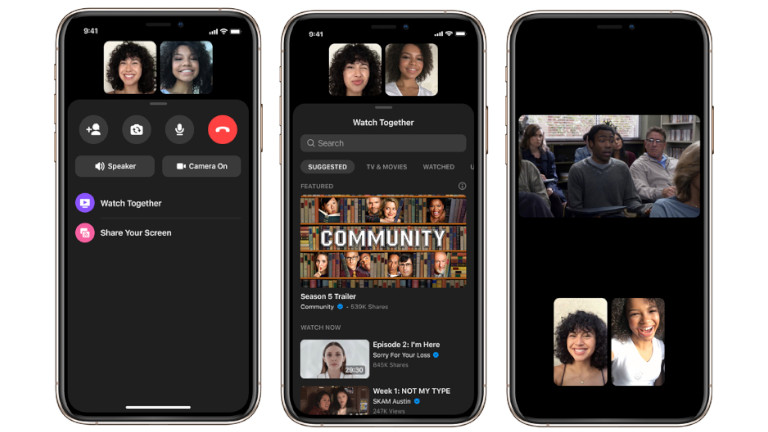 Facebook Watch Together vidéos Facebook appels Messenger