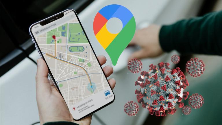 Google Maps filtre régions à risques Covid-19 Coronavirus