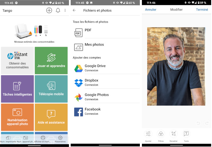 Application HP Smart imprimante Tango