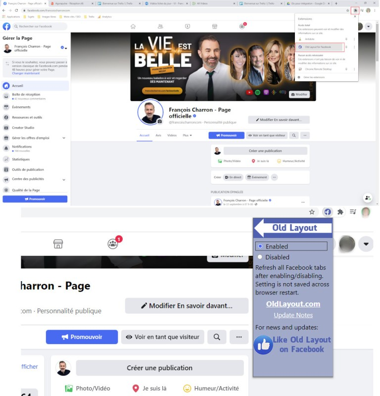 Old Layout for Facebook vieille nouvelle interface Facebook