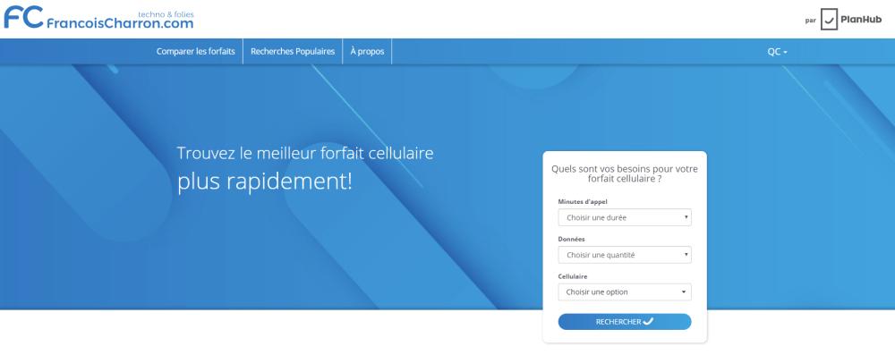 PlanHub francoischarron.com comparateur forfaits téléphones cellulaire meilleur prix