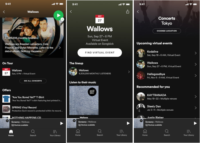 Spotify Concerts Virtuels page artistes applications mobile