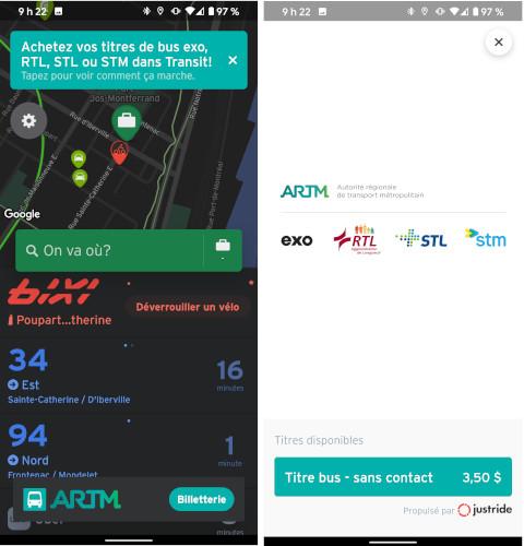 Transit achat billet autobus sans contact