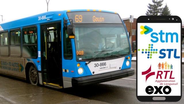Achat billet autobus STM STL RTL Exo téléphone intelligent