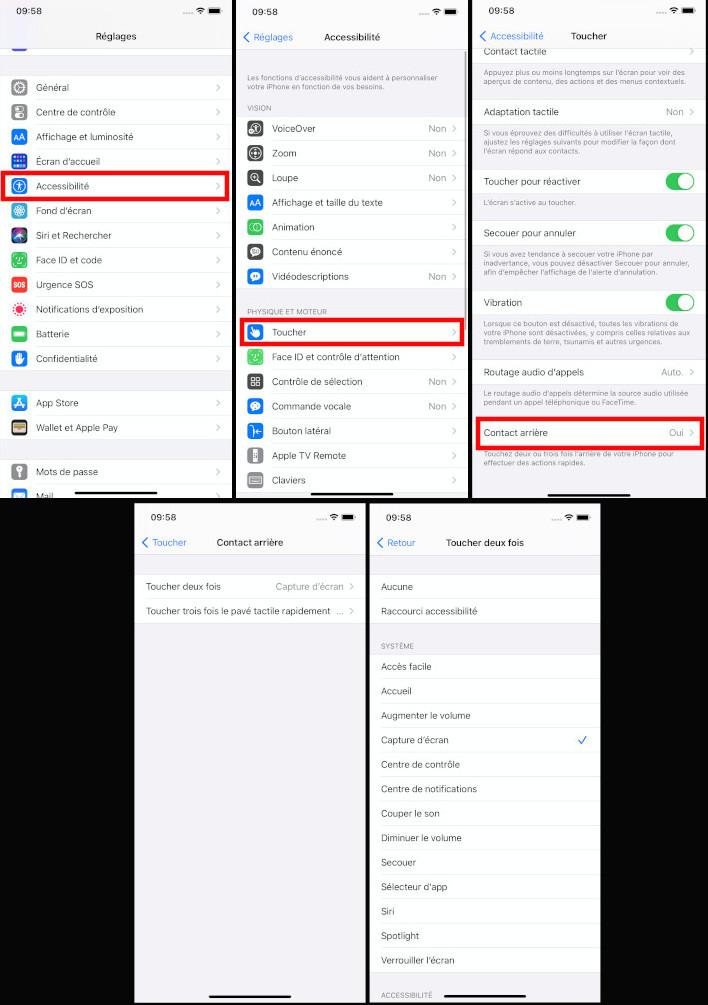 iOS 14 comment activer toucher arrière iPhone