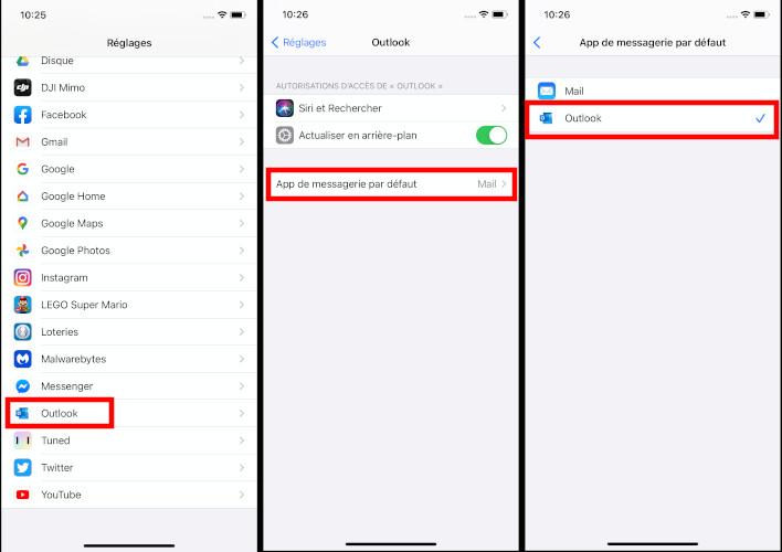 Comment changer application courriel par défaut iPhone