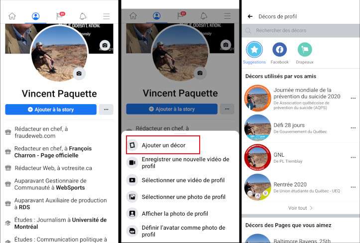 Comment ajouter décor photo de profil Facebook