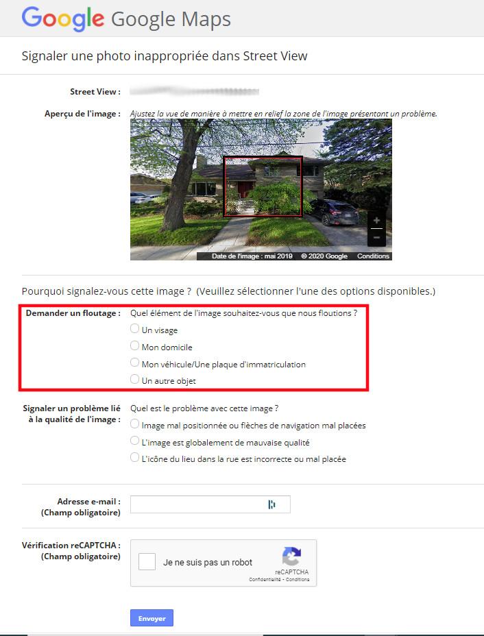 Formulaire demander floutage maison Google Maps Street Views