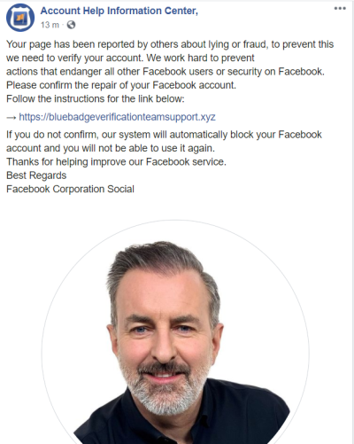 Facebook page Account Help Information Center faux signalement