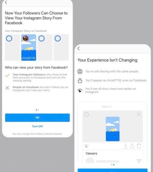 Facebook message stories Instagram visibles