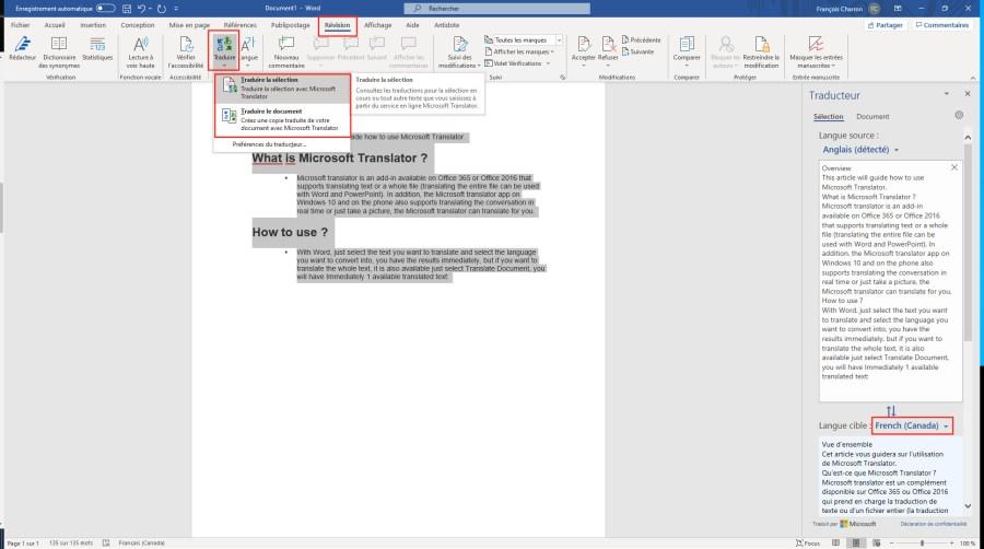 Traduction document Word Office français canadien