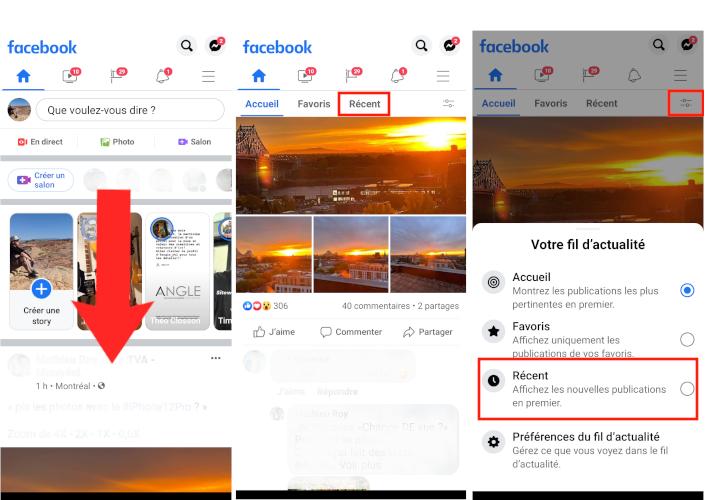 Comment voir publication récente fil actualité Facebook application mobile téléphone intelligent