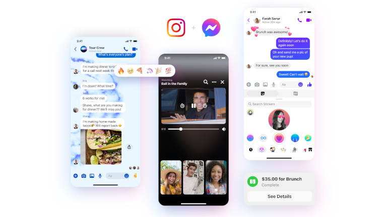 Messenger new INstagram logo reactions themes stickers