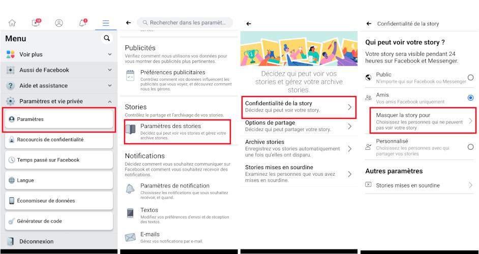 Comment masquer story Facebook à des amis à partir de l'application mobile téléphone tablette