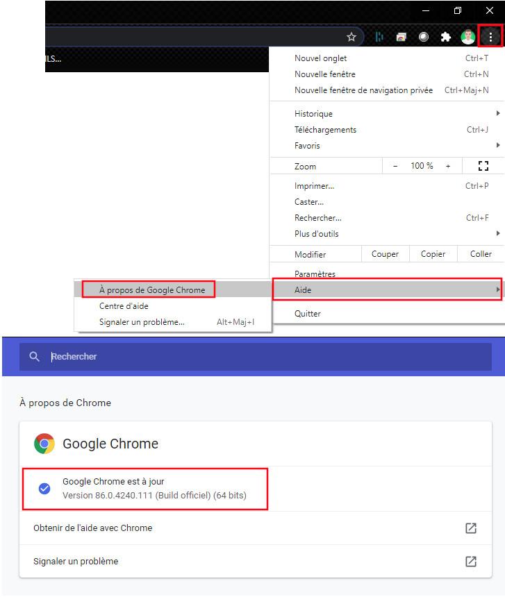 Google Chrome comment mettre à jour navigateur