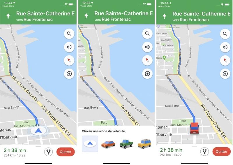 Comment obtenir iune cône de véhicule sur notre itinéraire Google Maps