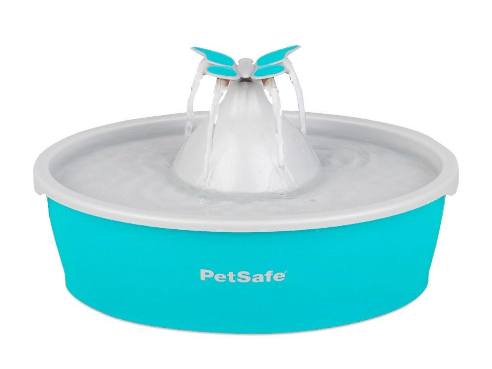Fontaine turquoise avec ornement papillon pour animaux