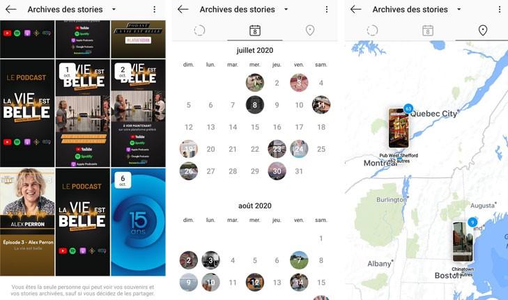 nouvelles présentations stories archivées instagram
